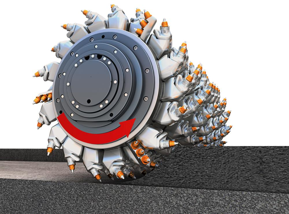 WIRTGEN up-cut process: The milling and mixing rotor runs against the direction of travel, ensuring high productivity.