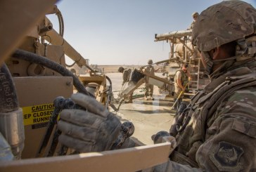 US Air Force Engineers repair runway near Mosul in Iraq