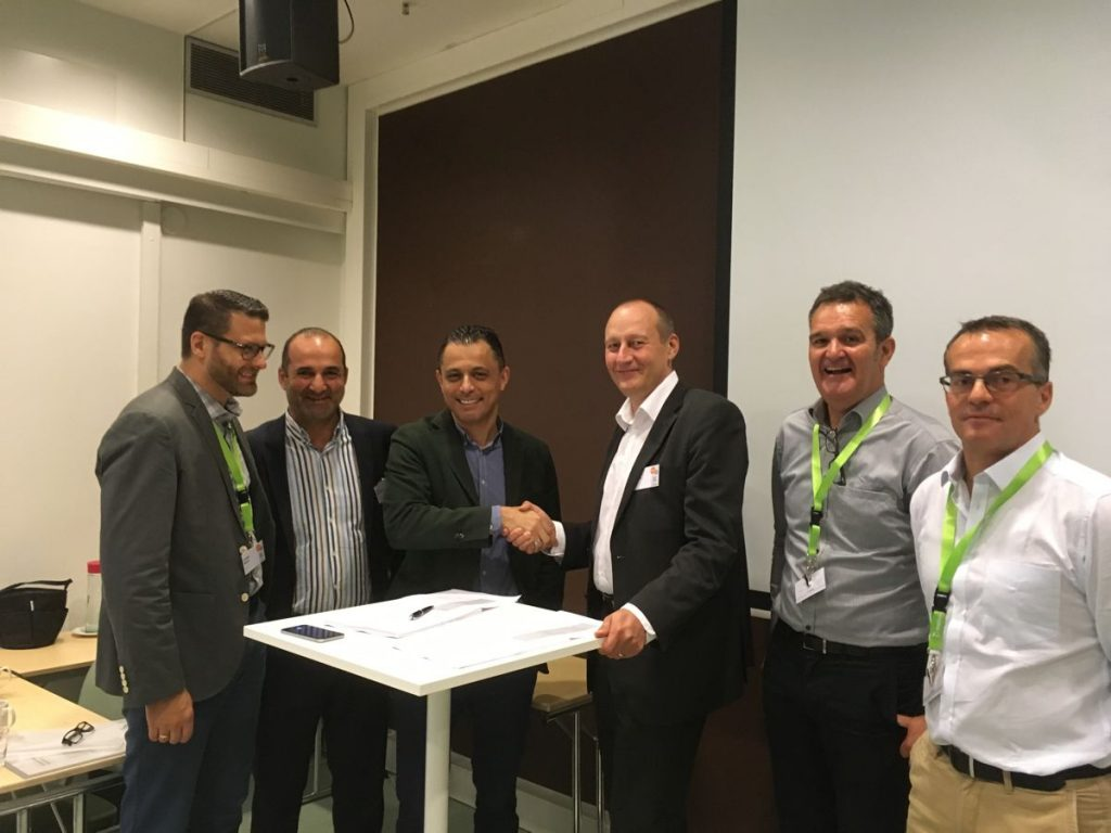 The agreement to formalize the cooperation between Metso and ASC was signed at Metso's global Distributor Days conference in early September. From left: Josh Meyer, Metso; Ozan Babacan, Distribution Business Manager at Metso; Darwish Ariqat, ASC; Markku Simula, SVP Aggregates Business line at Metso; Adrian Wood, VP, Aggregates Distribution, Metso; Eric Bonin, AMET Distribution General Manager, Metso.