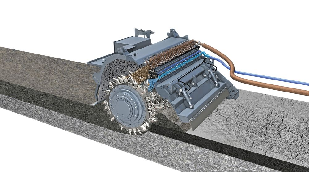 Addition of foamed bitumen and water to mineral aggregate by means of separate injection systems.