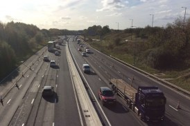 Wider lanes for drivers on England's M62 smart motorway near Rochdale