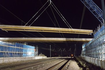New A14 Cambridge to Huntingdon bridge beams lifted over major railway line
