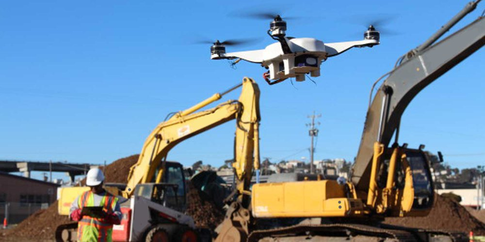 A drone scans a job site.