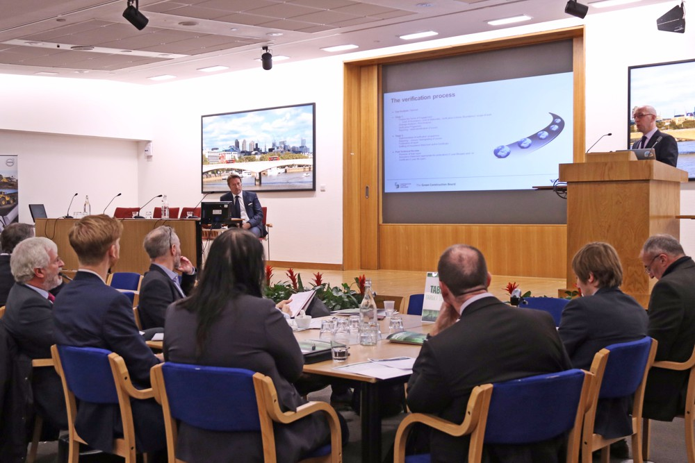 An audience of contractors, clients, academics and sustainability professionals gather at the London Construction Climate Challenge, hosted by Volvo Construction Equipment.