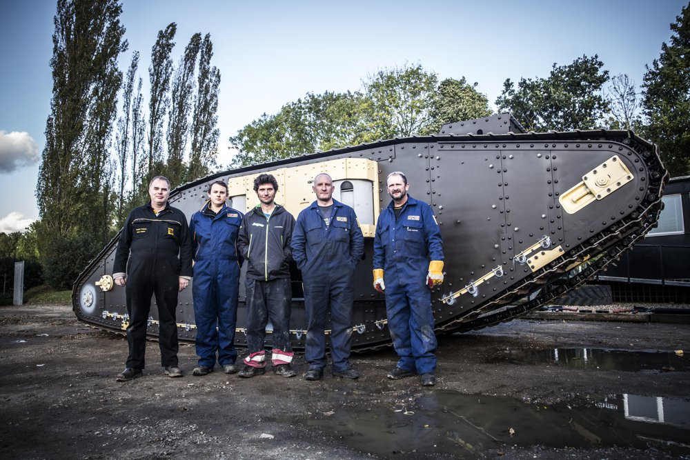 Guy Martin and the JCB team from left to right Chief Engineer Martyn Molsom, of Stone, Tom Beamish, of Derby, Chris Brennan, 46, of Longton, Stoke-on-Trent and Chris Shenton, 53, of Leek, Staffs.