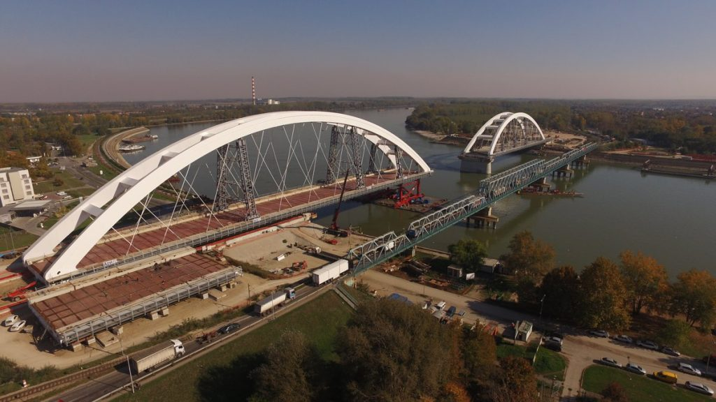 Launching the final arch of Zezelj Bridge in Novi Sad, Serbia.