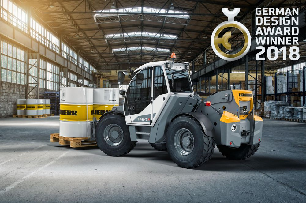 Liebherr-german-design-award-for-T46-7-telescopic-handler The T46-7 telescopic handler won over the expert judging panel with its optimal visibility and dynamic appearance.