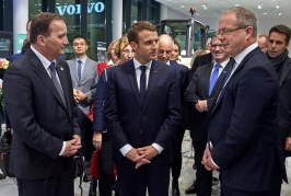 Swedish PM and French President sign strategic partnership at Volvo HQ