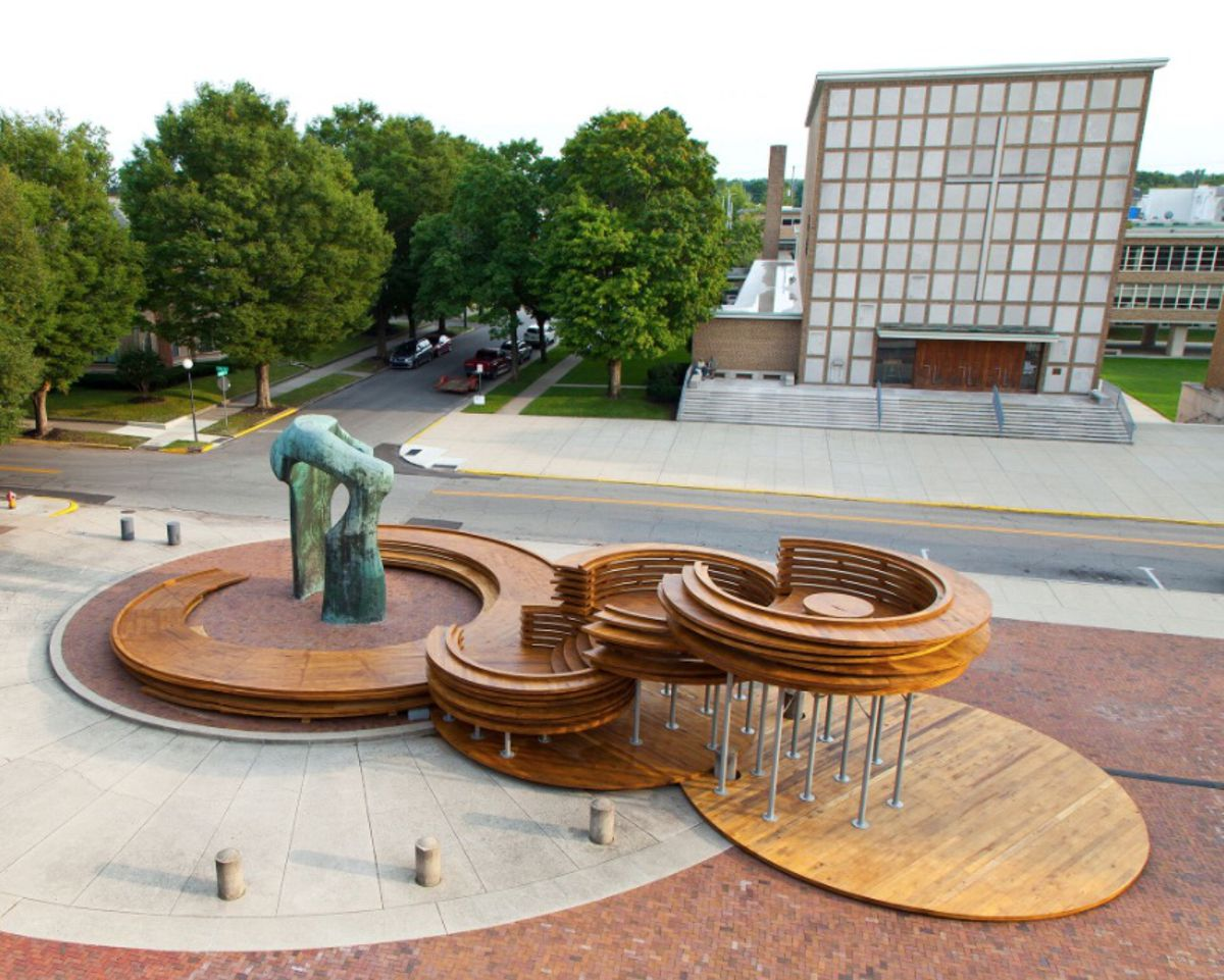 Conversation Plinth in Indiana encourages discussion about hardwood CLT