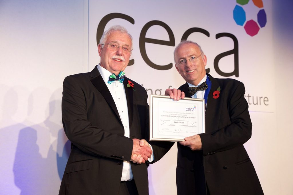 Ray Ransom (left) receives CECA Outstanding Contribution/Lifetime Achievement Award from Richard King, CECA (Southern) Chairman.