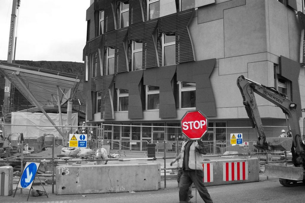 Signs of Construction at Scottish Parliament - Photo by Raymond McCrae