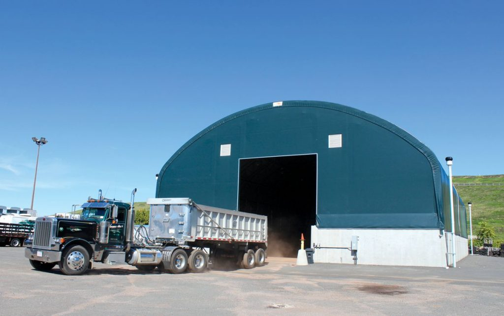 Hartford DPW new Clearspan salt storage clearspan fabric building