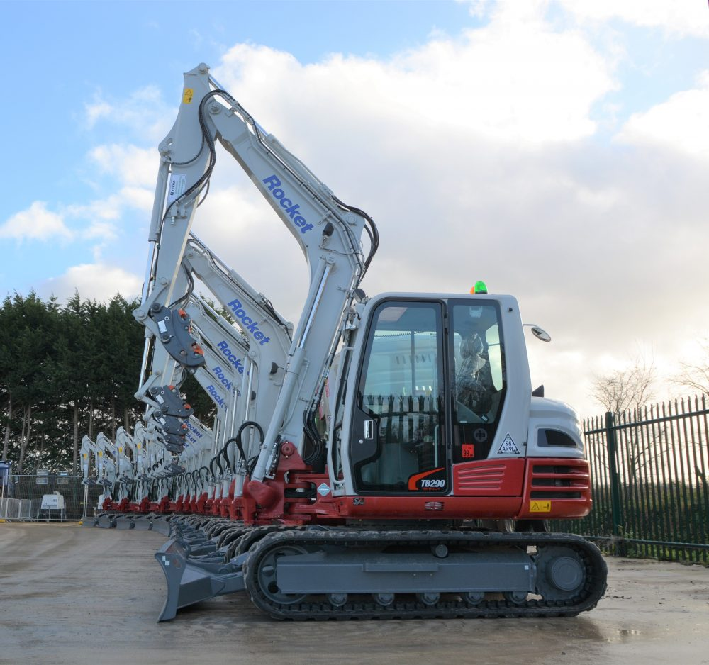 Takeuchi red and grey for Rocket Rentals with £1 2m mini-excavator