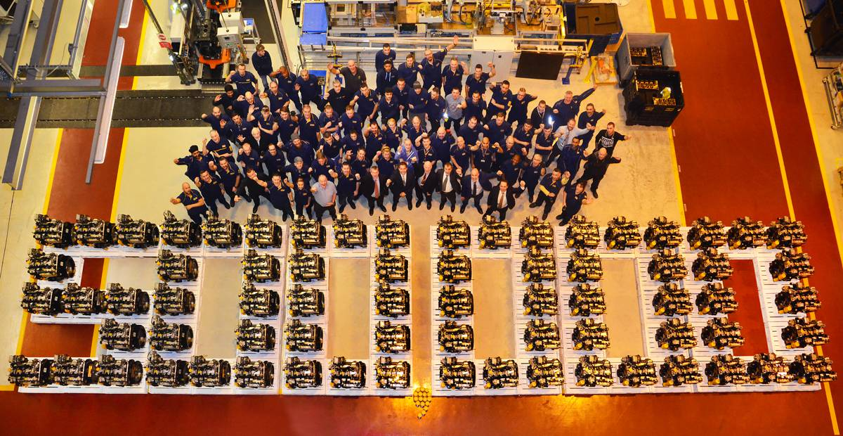 A JCB business which has powered its way to international success today celebrated the production of half a million JCB engines - enough to stretch from London to Paris.