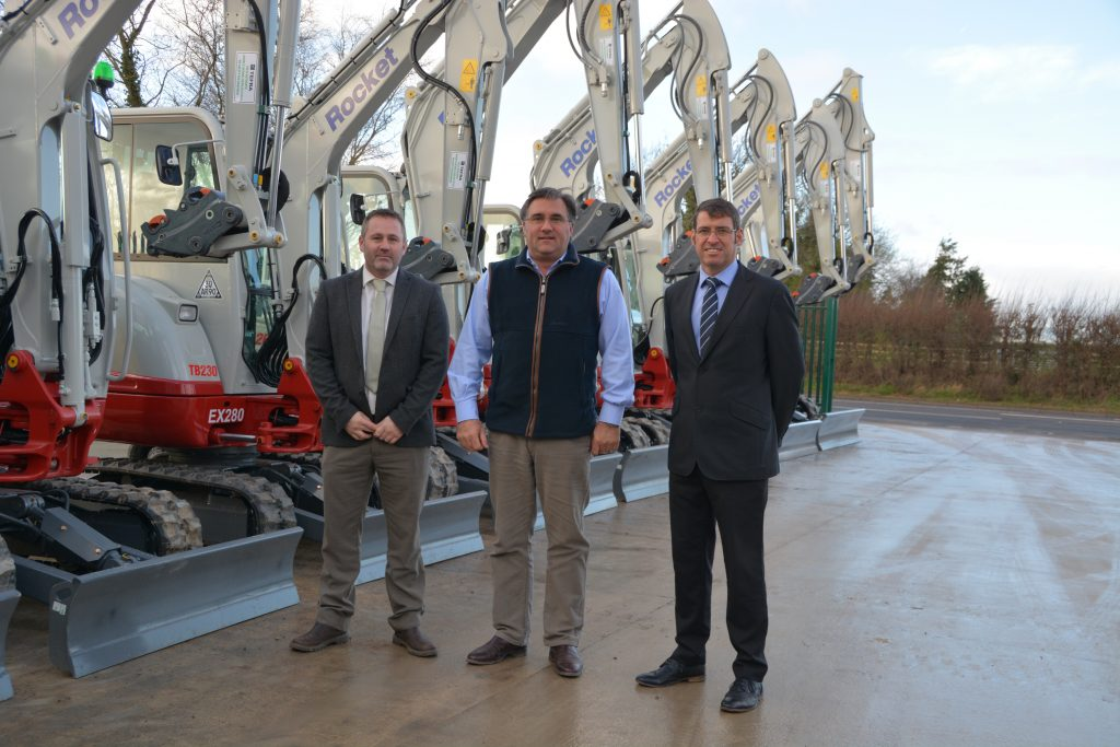 Left to Right. Simon Richards Area Sales Manager CBL, Simon Tomblin Managing Director Rocket Rentals and John Elliott Regional Director CBL.