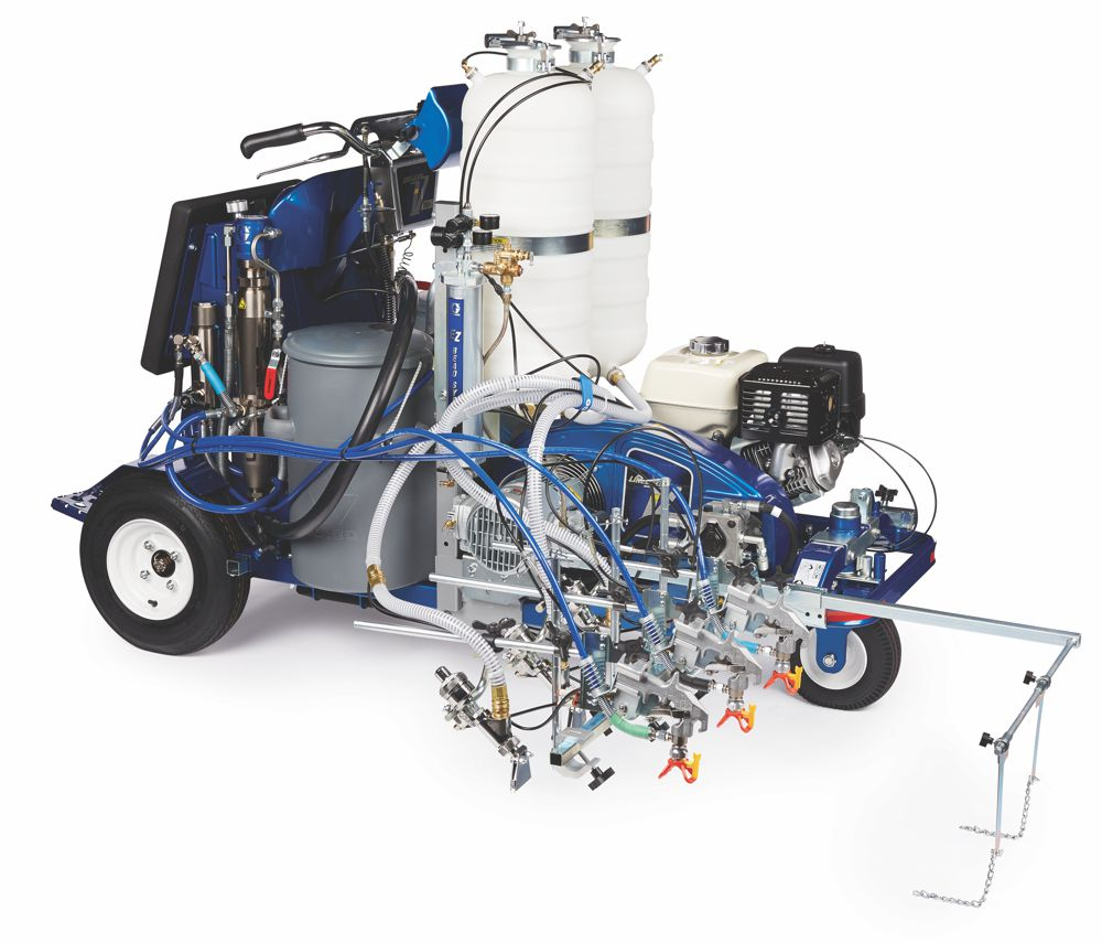 The Graco LineLazer V 250DC spraying three colours simultaneously.