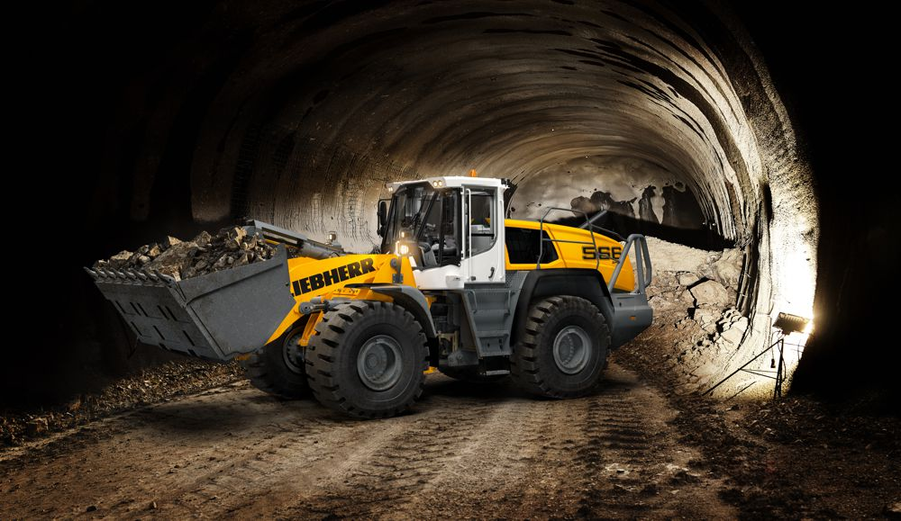 The tunnel package for selected Liebherr XPower® wheel loaders includes a comprehensive range of protective and safety measures including the purpose-built cab design with armoured glass windscreen.