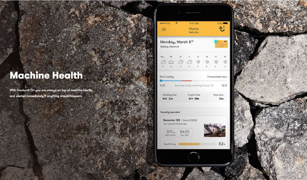 Maintaining machinery is clear and simple with the Trackunit smartphone app