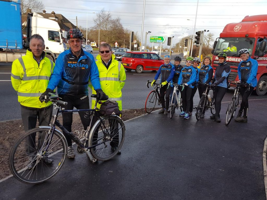 Cyclists celebrate Highways England £1.1m junction improvements in Ellesmere Port