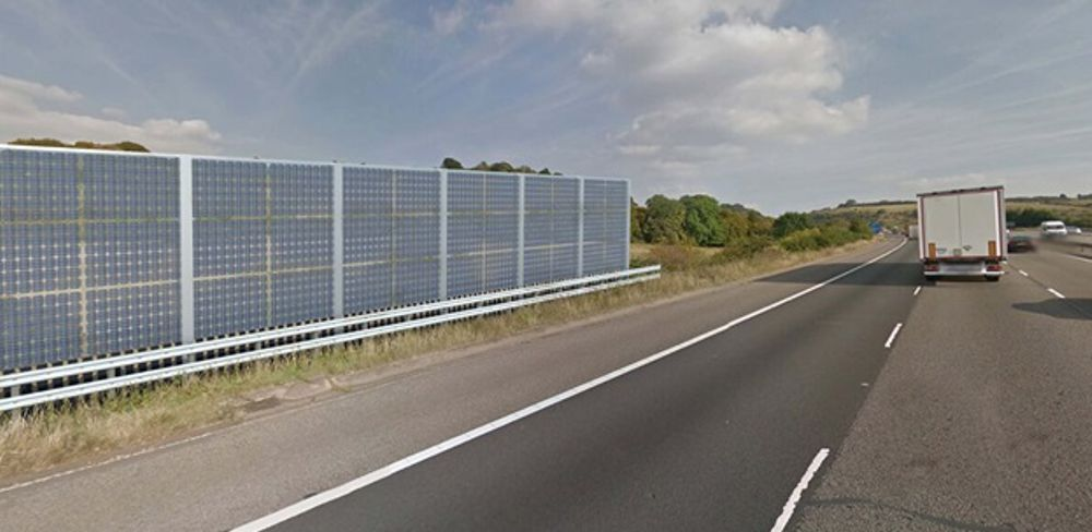 An example of noise barriers beside a motorway.