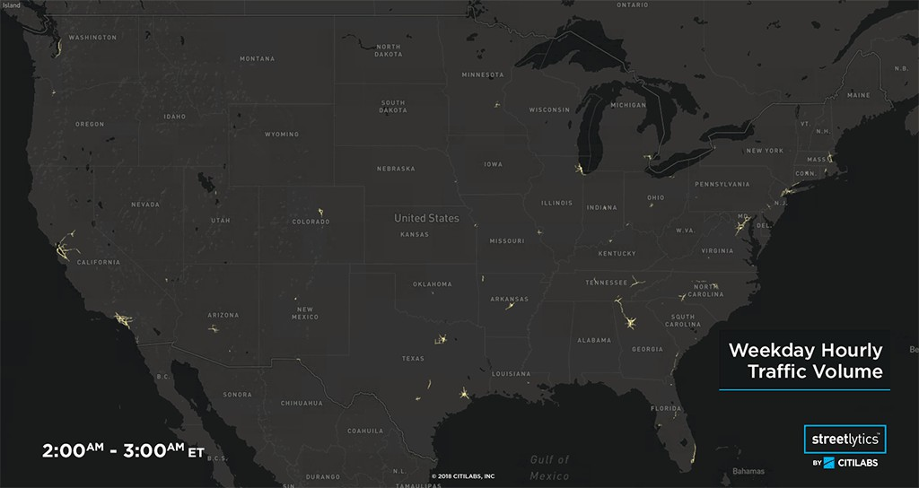 Streetlytics powers hourly traffic map of the USA