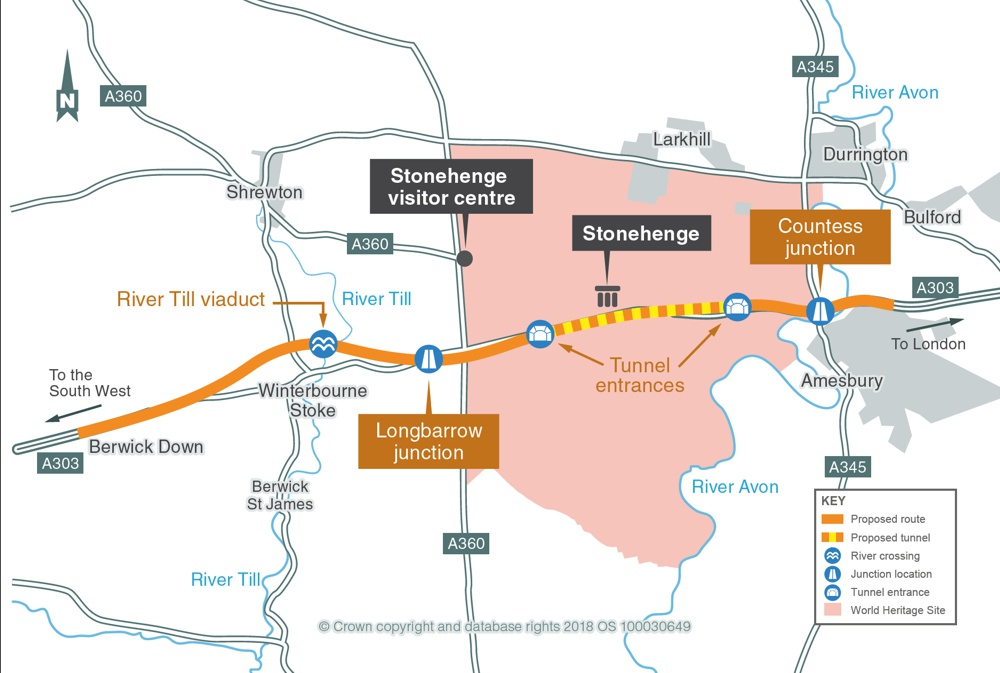 Map of A303 Stonehenge Area