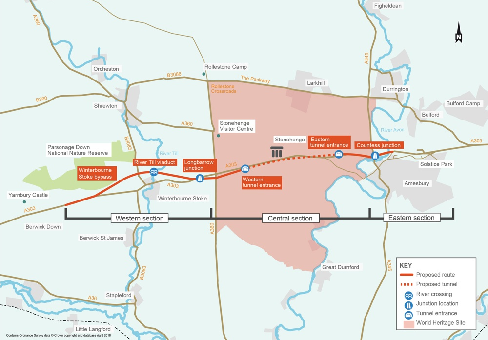 Map of A303 Tunnel Plans