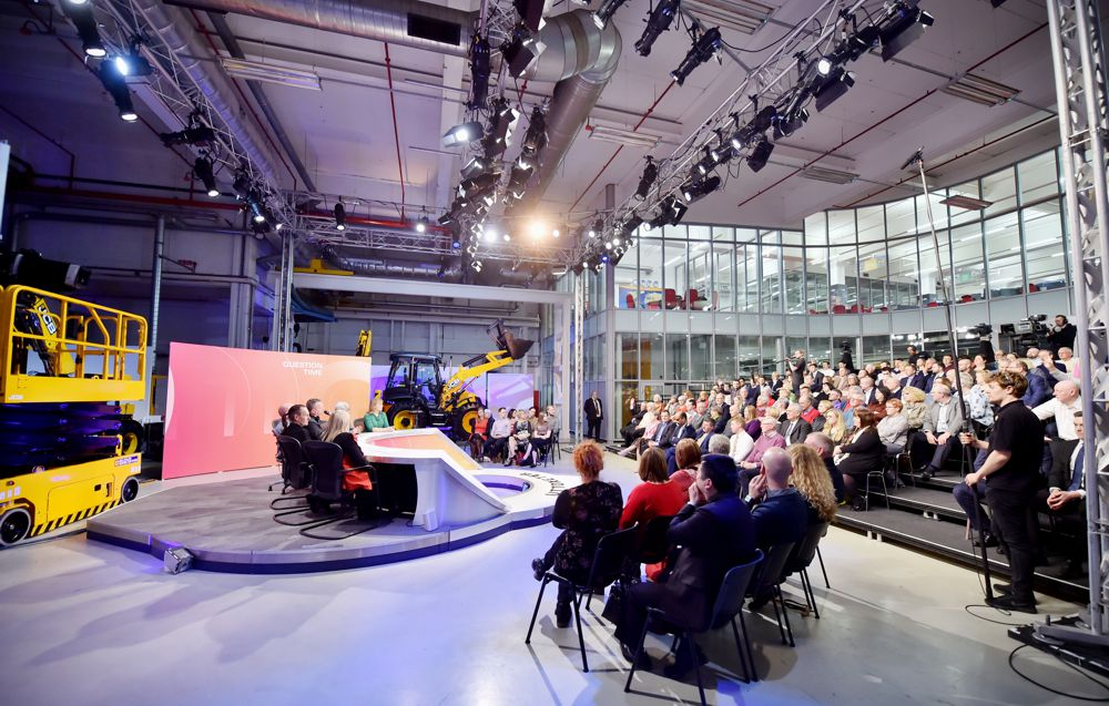 The Question Time set at JCB.