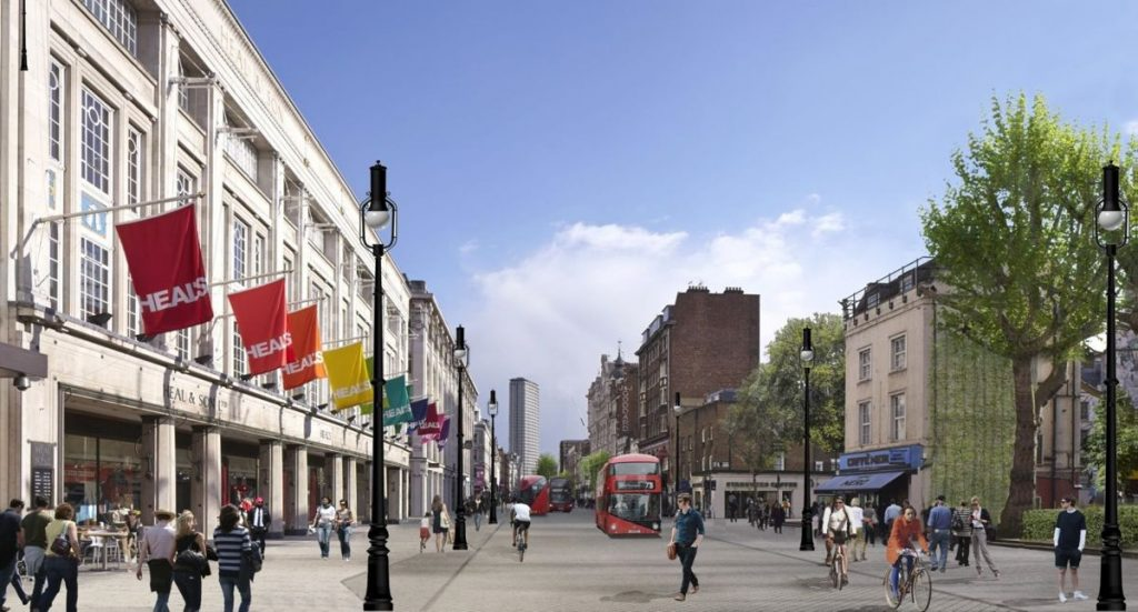 West End Project Tottenham Court Road artists impression. Image by Camden Council