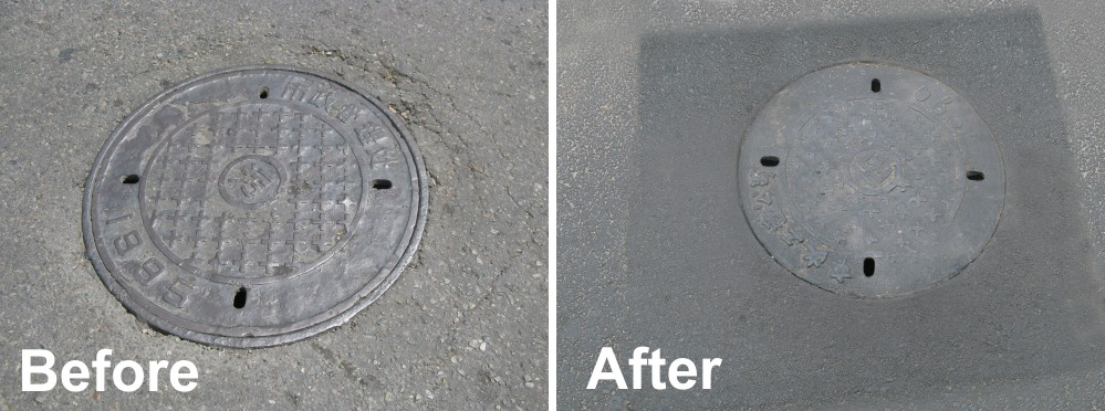 Before and After repair using Freetech Patching Vehicle