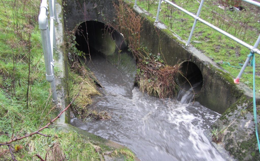 A discharge from a motorway into a stream near Cleckheaton, West Yorkshire