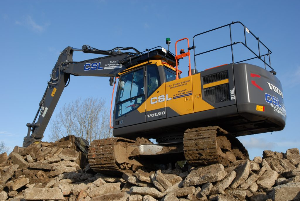 CSL's new Volvo EC220E prepares to recycle crushed concrete on a development site.