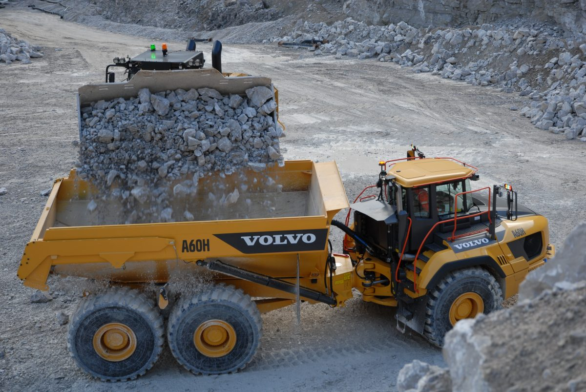 Volvo A60H articulated hauler working hard in Halkyn