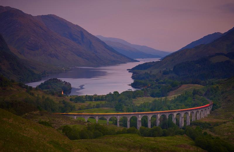 Night train, Loch Shiel and Glenfinnan Viaduct, Highlands, Scotland