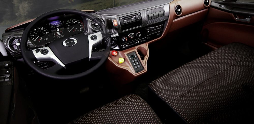 Hino Trucks XL Series bold interior cab design with easy access entry and automotive grade finish.