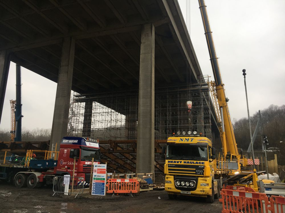 South East: M2 Stockbury Viaduct – a welcome talk and video and the opportunity to climb up scaffolding (using stair cases not ladders) to see where the bridge is being lifted.