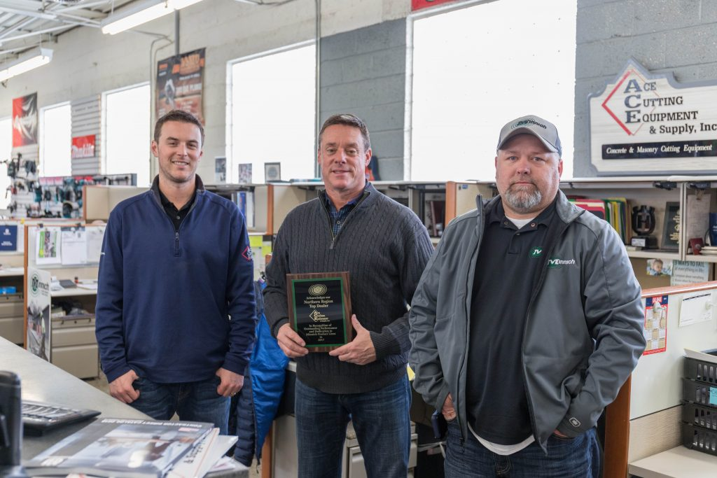 From left: Steve Measel of Ace Cutting Equipment & Supply, Ron Measel of Ace Cutting Equipment & Supply, Mike Sansom of Minnich Manufacturing.