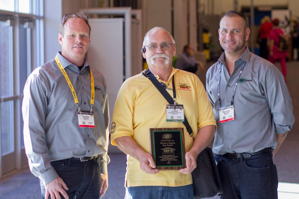 From left: Rob Minnich of Minnich Manufacturing, Joe Crance of Hub Construction Specialties, Mike Rabideau of Minnich Manufacturing.