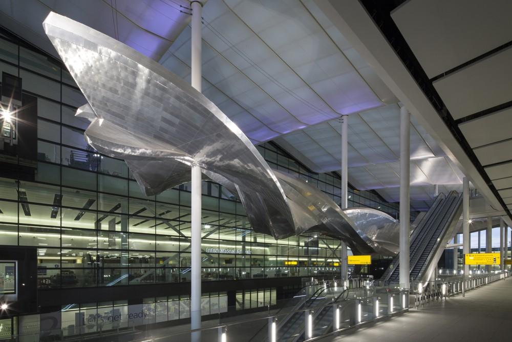 'Slipstream' by Richard Wilson at Heathrow Terminal 2. Photo by David Levene