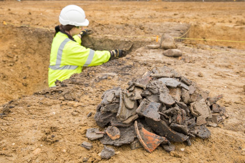 Collection of Roman pottery (c) Highways England, courtesy of MOLA Headland Infrastructure
