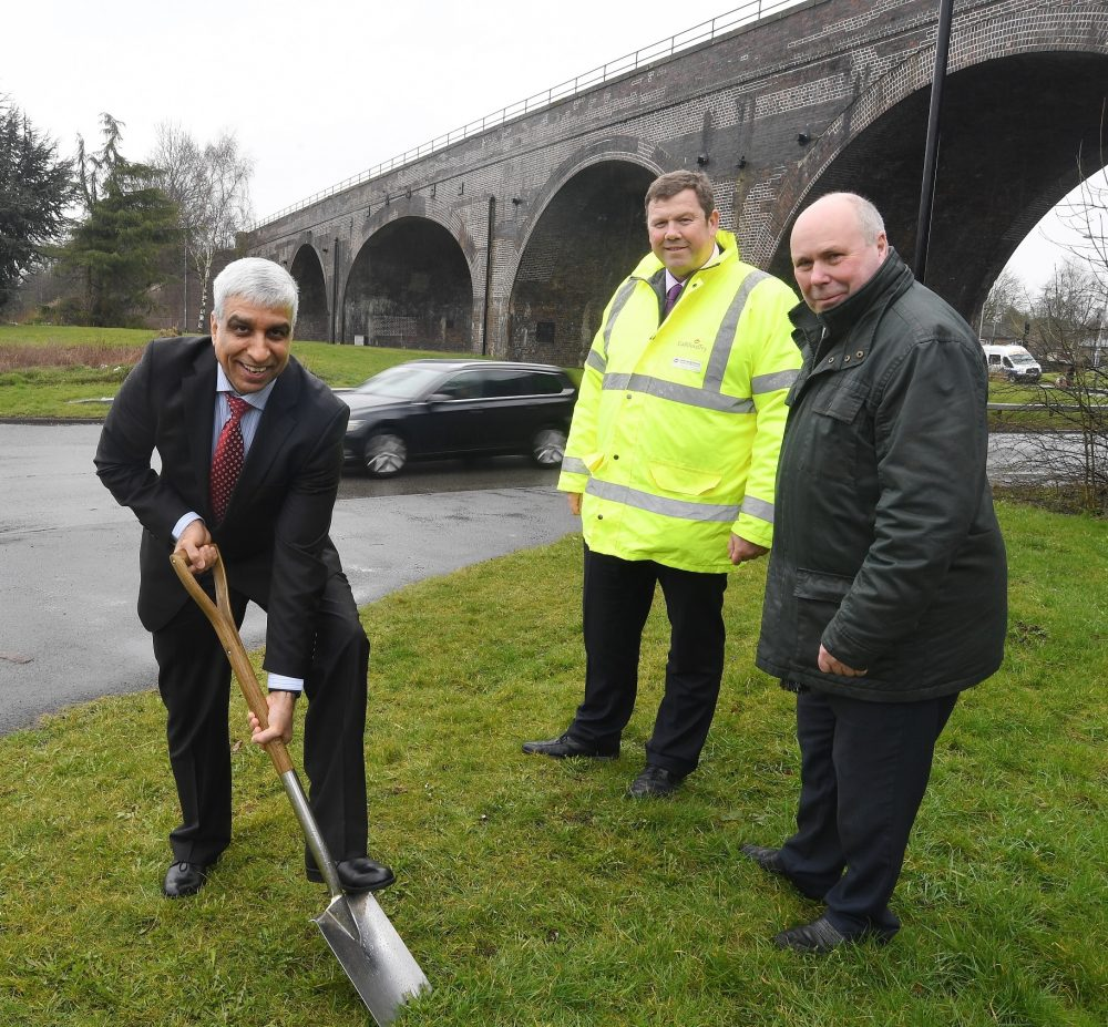 Pictured at the turf cutting ceremony are, from left: Zamurad Hussain (Coventry and Warwickshire Local Enterprise Partnership), Stephen Tomkins (Galliford Try) and Cllr Jeff Clarke (Warwickshire County Council).