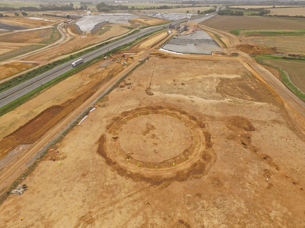 Neolithic henge monument under excavation for A14 C2H Highways England. courtesy of MOLA