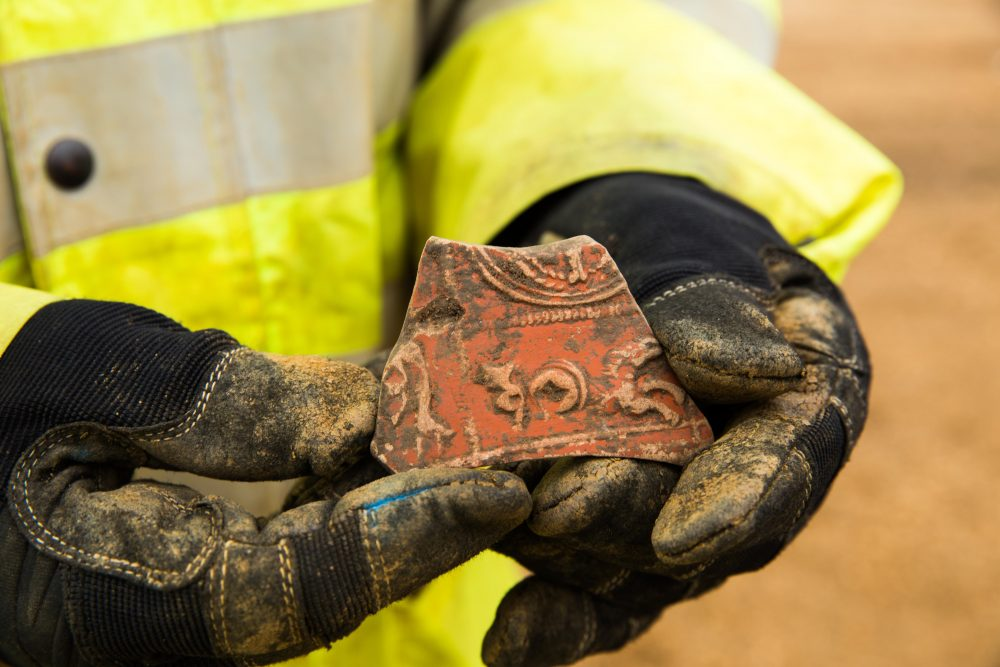 Roman Samian ware pottery from A14C2H (c) Highways England, courtesy of MOLA Headland Infrastructure