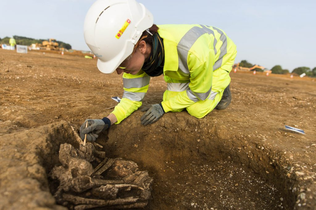Skeleton archaeologically excavated for A14C2H (c) Highways England, courtesy of MOLA Headland Infrastructure