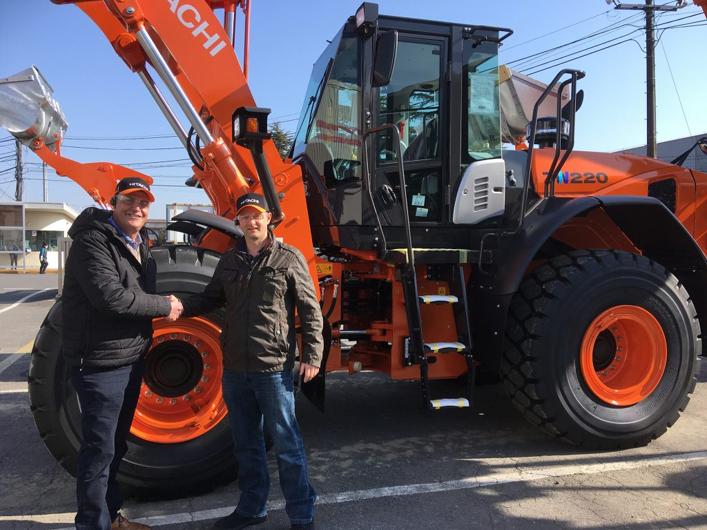 Ridgway's Stuart Jones and Hitachi's John Barnfield with the new Hitachi ZW220-6 Wheel Loader