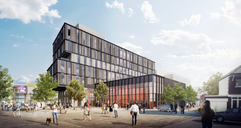the six-story Innovation Central building, as seen from Maindy Road, will be home to Spark – the world's first social science research park – and the Innovation Centre, a creative space for new ventures equipped with shared spaces, labs and serviced offices.
