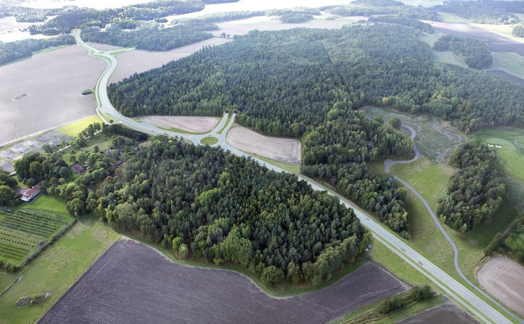 Rendering of Lovö Interchange, Bypass Stockholm. Photo by Trafikverket (Swedish Transport Administration)