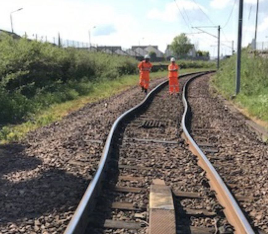 Buckled rails at Wishaw near Glasgow - 28 May 2018