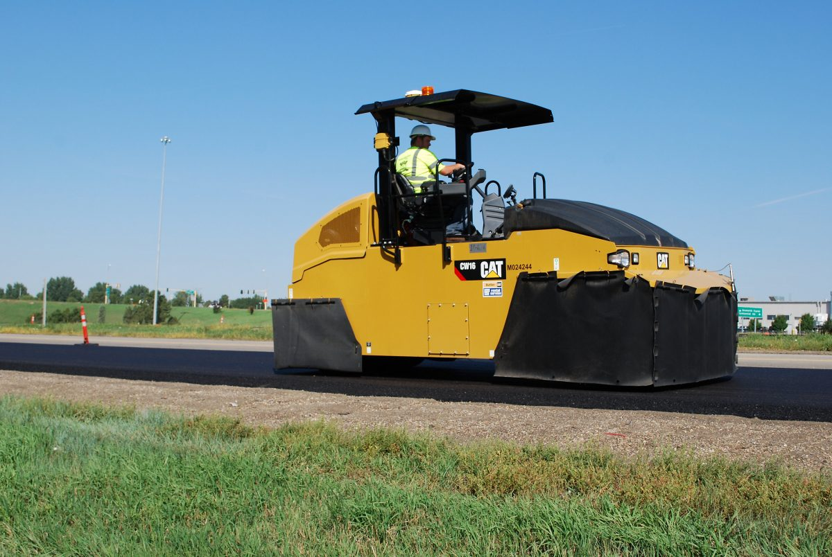 Cat CW16 Pneumatic Compactor features two-wheel configuration and ballast choices