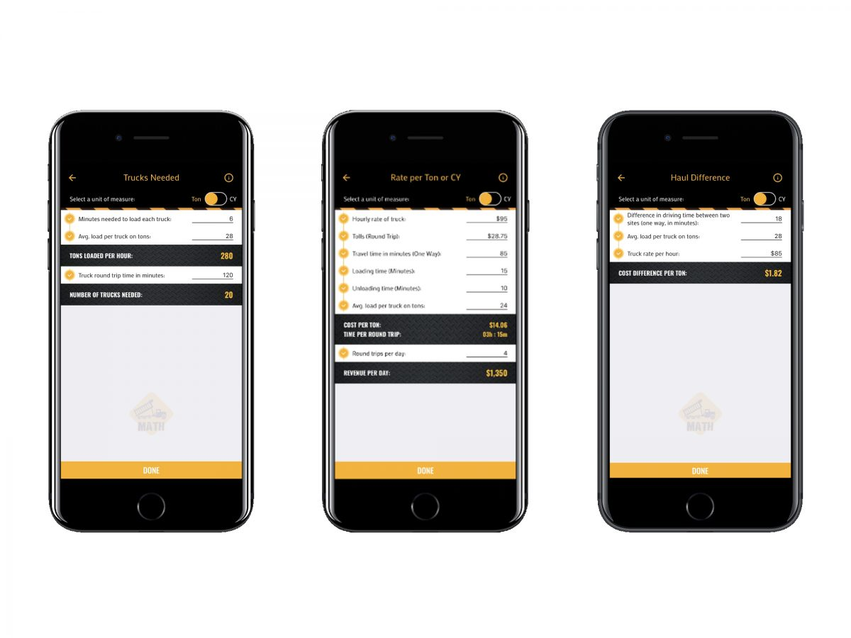 Calculator App for dump trucks and construction puts everyday math in your pocket